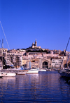 Marseilles, Bouches-du-Rhône, PACA, France: view from the harbour towards Notre-Dame de la Garde basilica - architect Henri-Jacques Espérandieu - Neo-Byzantine style - photo by A.Bartel