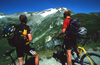 Chamonix, Haute-Savoi, Rh�ne-Alpes, France: two mountainbikers pause for taking in the view - Tour du Mont Blanc trail - photo by S.Egeberg