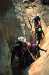 Gorges du Verdon, Alpes-de-Haute-Provence, PACA, France: group canyoning through the waterfilled gorge - Grand canyon du Verdon - photo by S.Egeberg