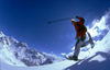 La Grave, Brian�on, Hautes-Alpes, PACA, France: fast snowshoeing down powder slopes at Serre Chevalier - photo by S.Egeberg