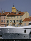Saint-Tropez, Var, PACA, France: yacht, houses and bell tower of the Church of Saint-Tropez - photo by T.Marshall