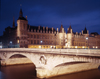 Paris, France: nocturnal view of Pont au Change and the Conciergerie, a former royal palace and prison, part of the present day Palais de Justice - Ile de la Cité, 1er arrondissement - photo by A.Bartel