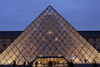 Paris, France: Louvre Museum - central courtyard - I.M. Pei's Louvre Pyramid at dusk - 1er arrondissement - photo by A.Bartel