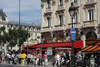 Paris, France: Boulevard St. Michel, Quartier Latin - café 'Le Départ Saint Michel' and Saint Michel metro station - 5e arrondissement - photo by A.Bartel