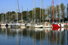 Carentan, Manche, Basse-Normandie, France: yachts - tree lined harbour - Écluse de Haut Dicq - photo by A.Bartel