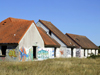 Pirou Plage, Manche, Basse-Normandie, France: abandoned Holiday Village - graffiti - photo by A.Bartel