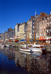 Honfleur, Calvados, Basse-Normandie, France: sail boats at the Vieux Bassin and the façades of Quai Sainte-Catherine - reflection - photo by A.Bartel