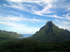 French Polynesia - Moorea / MOZ (Society islands, iles du vent): Mont Rotui, separating Cook (Paopao) and Papetoai (Oponu) bays, on the north coast - photo by R.Ziff