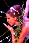 Papeete, Tahiti, French Polynesia: Tahitian with flower necklace - lei - photo by D.Smith