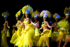 Papeete, Tahiti, French Polynesia: group of Tahitian dancers in ethnic costumes on stage - photo by D.Smith