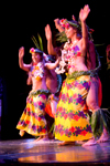 Papeete, Tahiti, French Polynesia: Tahitian dancers wearing flower garlands and colourful skirts - photo by D.Smith