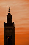 Libreville, Estuaire Province, Gabon: Hassan II mosque - silhouette of the minaret at sunset - photo by M.Torres