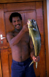 Galapagos Islands, Ecuador: crewman of the Samba with a fresh catch of Mahi Mahi (Dolphin Fish) - photo by C.Lovell