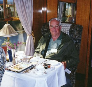 Galen R. Frysinger on the Orient Express on the way from London to Bath