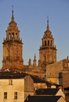 Lugo, Galicia / Galiza, Spain: roof tops and the towers of St Mary's Cathedral - Catedral de Santa María - photo by M.Torres