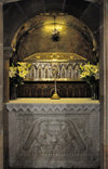 Santiago de Compostela, Galicia / Galiza, Spain: the Cathedral - crypt - tomb of Saint James the Greater, one of the apostles of Jesus Christ - silver reliquary by the goldsmith Jos� Losada - photo by M.Torres