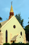 Banjul, The Gambia: Saint Mary's Anglican Cathedral - yellow façade with spire and weather-vane -  Independence Drive - photo by M.Torres
