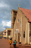 Banjul, The Gambia: Roman Catholic Cathedral of Our Lady of the Assumption - people and façade on Daniel Goddard street - photo by M.Torres