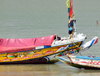 Barra, The Gambia: colorful bows of traditional wooden fishing boats of the River Gambia estuary - photo by M.Torres