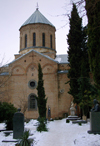 Tbilisi, Georgia: Church of St. David - the national pantheon - graves and snow - photo by N.Mahmudova