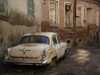 Georgia - Tbilisi / Tblissi / TBS: dilapidated car in back street near Davit Aghmashenebelis street - photo by A.Kilroy