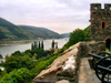 Germany / Deutschland / Allemagne - Trechtingshausen - Burg Reichenstein (Rhineland-Palatinate / Landkreis Mainz-Bingen in Rheinland-Pfalz): view over the river Rhine - Reichenstein castle - Schloss Reichenstein - photo by Efi Keren