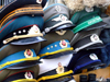 Berlin, Germany / Deutschland: East-German and Soviet military hats - photo by M.Bergsma