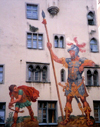 Germany - Bavaria - Regensburg: David and Goliath mural - Goliath House - Goliathhaus / Goliathstrasse - photo by M.Torres