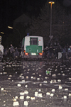 Germany - Berlin: riots on May 1st - stones thrown at police vehicle - photo by W.Schmidt