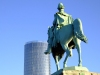 Germany / Deutschland - Cologne / Koeln / CGN: sky scraper and equestrian statue of Friedrich Wilhelm IV., König von Preußen (photo by M.Bergsma)