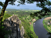 Bastei, Sächsische Schweiz / Saxon Switzerland, Saxony / Sachsen, Germany / Deutschland: rocks overlooking the River Elbe - Elbe Sandstone Mountains - photo by E.Keren