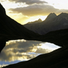 Germany - Oberstdorf, Allgäu region, Swabia, Bavaria: sunset over the Rappensee lake - seen from the Rappenseehütte Alpine hut - Allgäu region of the Bavarian Alps - photo by W.Allgower