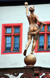 Würzburg, Lower Franconia, Bavaria, Germany: golden derriere - statue at Marienberg fortress - photo by M.Torres