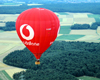 Würzburg Kreis, Lower Franconia, Bavaria, Germany: Vodafone hot air baloon and the landscape of Franconia - from the air - photo by D.Steppuhn