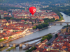 Würzburg, Lower Franconia, Bavaria, Germany: river Main, Vodafone baloon and bridges - Alte Mainbrücke and Löwenbrücke - from the air - photo by D.Steppuhn