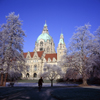 Hannover, Lower Saxony, Germany: New City Hall / Neues Rathau, Trammplatz and Maschpark in winter - snow - photo by A.Harries