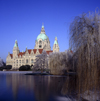 Hannover, Lower Saxony, Germany: New City Hall / Neues Rathaus and Maschteich lake in winter - photo by A.Harries
