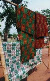 Ghana / Gana - Kumasi: cloth prepared with block prints - textiles (photo by Gallen Frysinger)