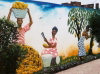 Ghana / Gana - Aburi: mural showing work with the cocoa beans - Aburi gardens (photo by Gallen Frysinger)