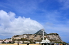 Gibraltar: southern view of Gibraltar with the King Fahd bin Abdulaziz al-Saud Mosque on the right - orographic clouds - photo by M.Torres