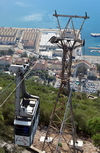 Gibraltar: a cable car gondola near the summit station, seen against Gibraltar harbour - photo by M.Torres