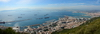 Gibraltar: panorama of Gibraltar town and the harbour - border, airport and La Linea on the right, Algeciras and its bay in the background - photo by M.Torres