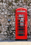 Gibraltar: British phone booth at the Southport Gates - red telephone box designed by Sir Giles Gilbert Scott - K6 - photo by M.Torres