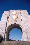 Gibraltar: American war memorial - arch - erected in 1933 to commemorate the links between the Royal Navy and the United States Navy during WWI - designed by Dr Paul Cret of Philadelphia - photo by Miguel Torres