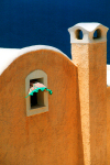 Greek islands - Santorini / Thira / JTR: curtain flapping in wind through a window - photo by D.Smith