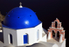 Greek islands - Santorini / Thira: blue and cream - blue dome - church - Greek dome - photo by A.Dnieprowsky