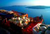 Greek islands - Santorini / Thira: fresh vegetables - view of volcanic caldera in background at sunset - photo by D.Smith