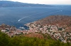 Greece - Idra island / Hydra  (Peloponnese):  from the air - the town and Aderes mountains (photo by Pierre Jolivet)