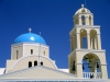 Greek islands - Santorini / Thira: Fira - church - blue dome - photo by R.Wallace