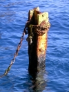 Greek islands - Santorini / Thira: Ia - rusting mooring - photo by R.Wallace